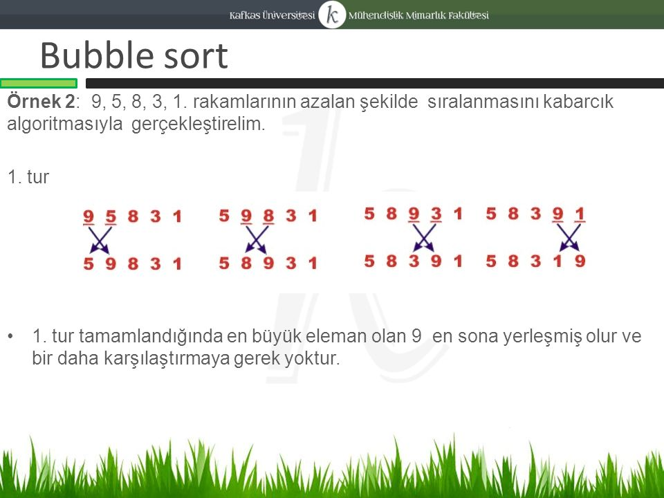 Bubble sort Örnek 2: 9, 5, 8, 3, 1.