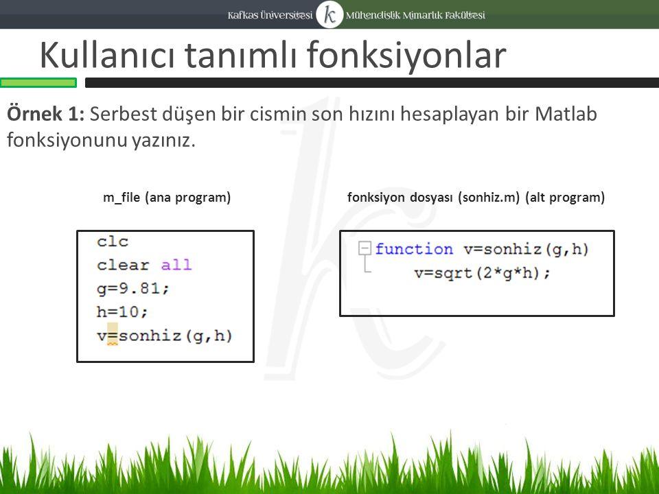 Kullanıcı tanımlı fonksiyonlar Örnek 1: Serbest düşen bir cismin son hızını hesaplayan bir Matlab fonksiyonunu yazınız.