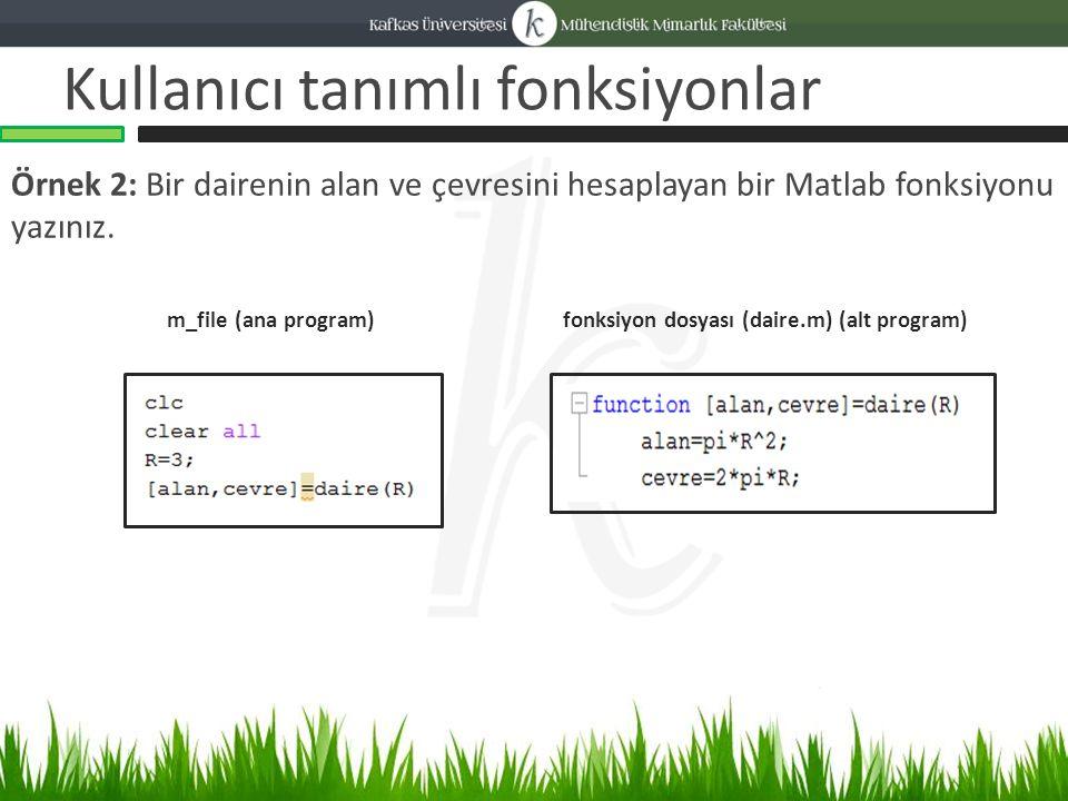Kullanıcı tanımlı fonksiyonlar Örnek 2: Bir dairenin alan ve çevresini hesaplayan bir Matlab fonksiyonu yazınız.