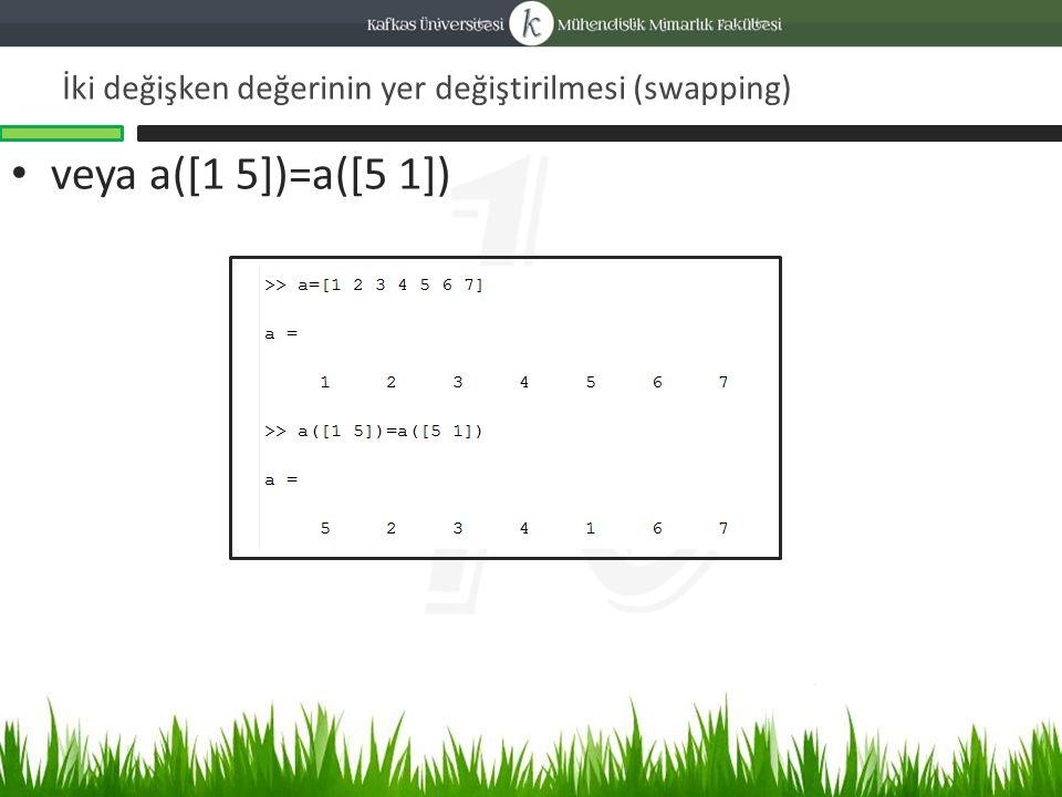 İki değişken değerinin yer değiştirilmesi (swapping) veya a([1 5])=a([5 1])