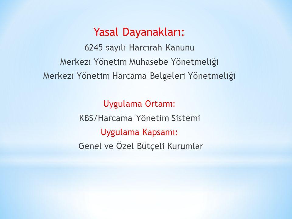 Yasal Dayanakları: 6245 sayılı Harcırah Kanunu Merkezi Yönetim Muhasebe Yönetmeliği Merkezi Yönetim Harcama Belgeleri Yönetmeliği Uygulama Ortamı: KBS