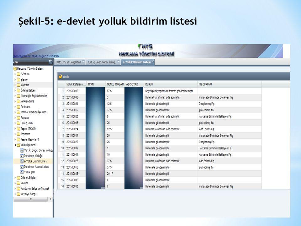 Şekil-5: e-devlet yolluk bildirim listesi