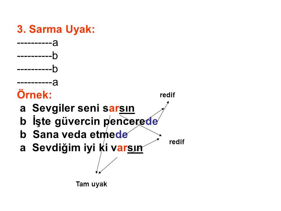 3. Sarma Uyak: ----------a ----------b ----------a Örnek: a Sevgiler seni sarsın b İşte güvercin pencerede b Sana veda etmede a Sevdiğim iyi ki varsın