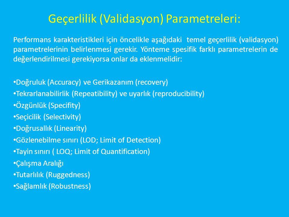 Geçerlilik (Validasyon) Parametreleri: Performans karakteristikleri için öncelikle aşağıdaki temel geçerlilik (validasyon) parametrelerinin belirlenmesi gerekir.