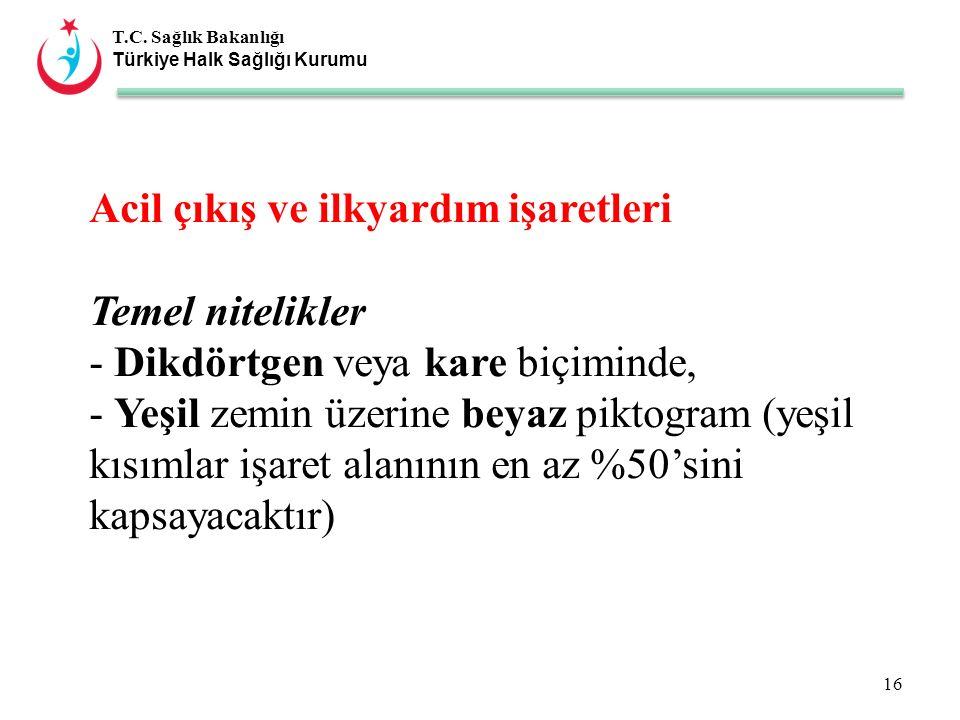 T.C. Sağlık Bakanlığı Türkiye Halk Sağlığı Kurumu Acil çıkış ve ilkyardım işaretleri Temel nitelikler - Dikdörtgen veya kare biçiminde, - Yeşil zemin