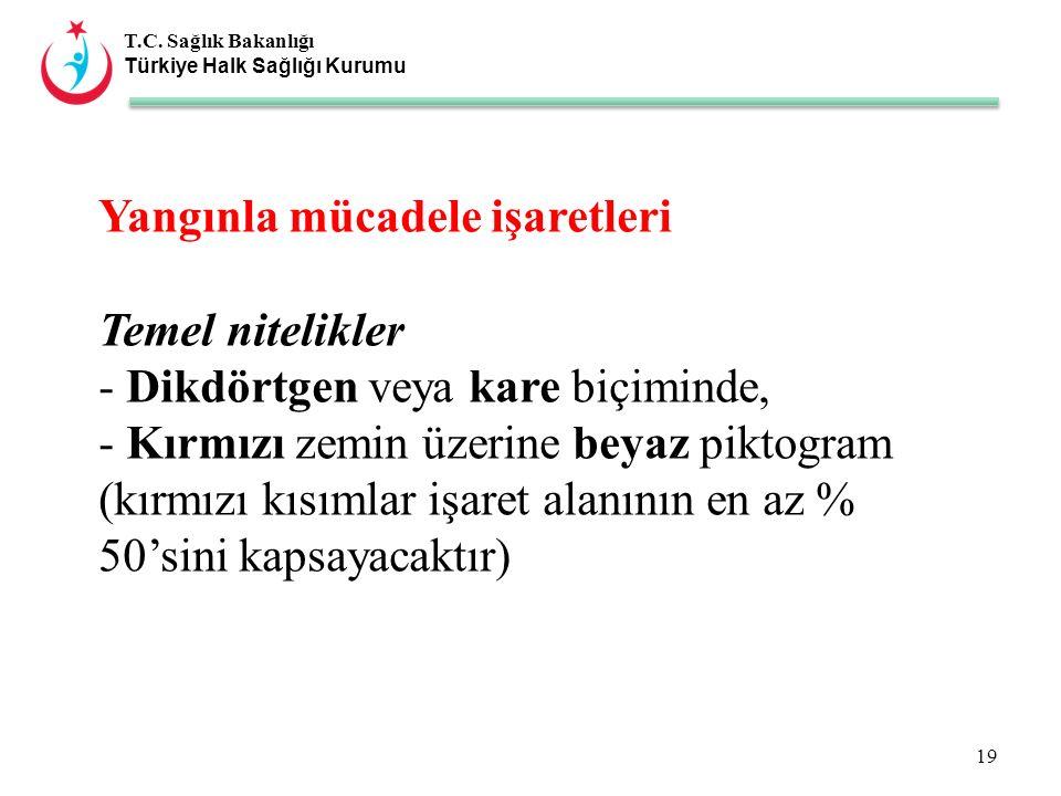 T.C. Sağlık Bakanlığı Türkiye Halk Sağlığı Kurumu Yangınla mücadele işaretleri Temel nitelikler - Dikdörtgen veya kare biçiminde, - Kırmızı zemin üzer