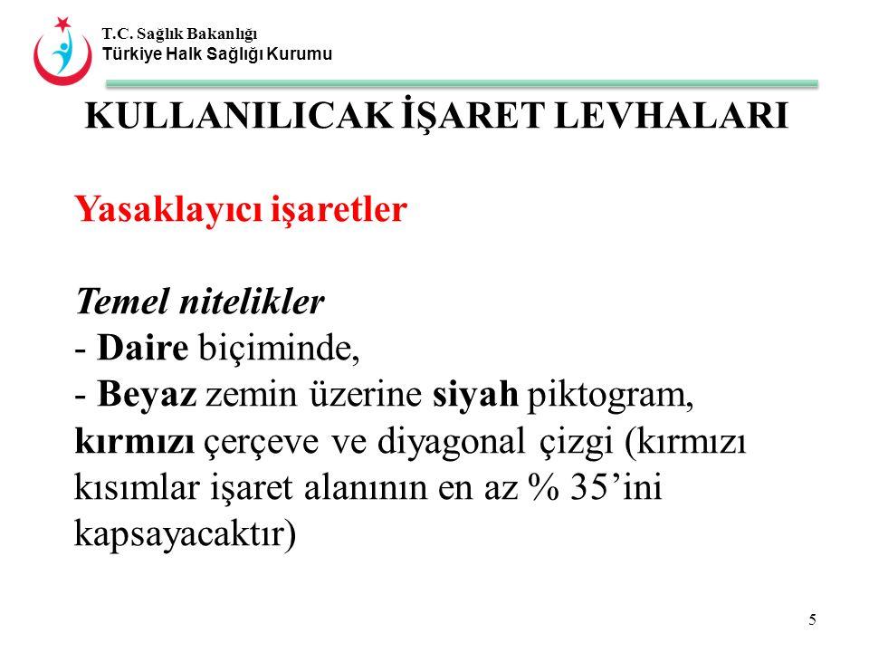 T.C. Sağlık Bakanlığı Türkiye Halk Sağlığı Kurumu KULLANILICAK İŞARET LEVHALARI Yasaklayıcı işaretler Temel nitelikler - Daire biçiminde, - Beyaz zemi