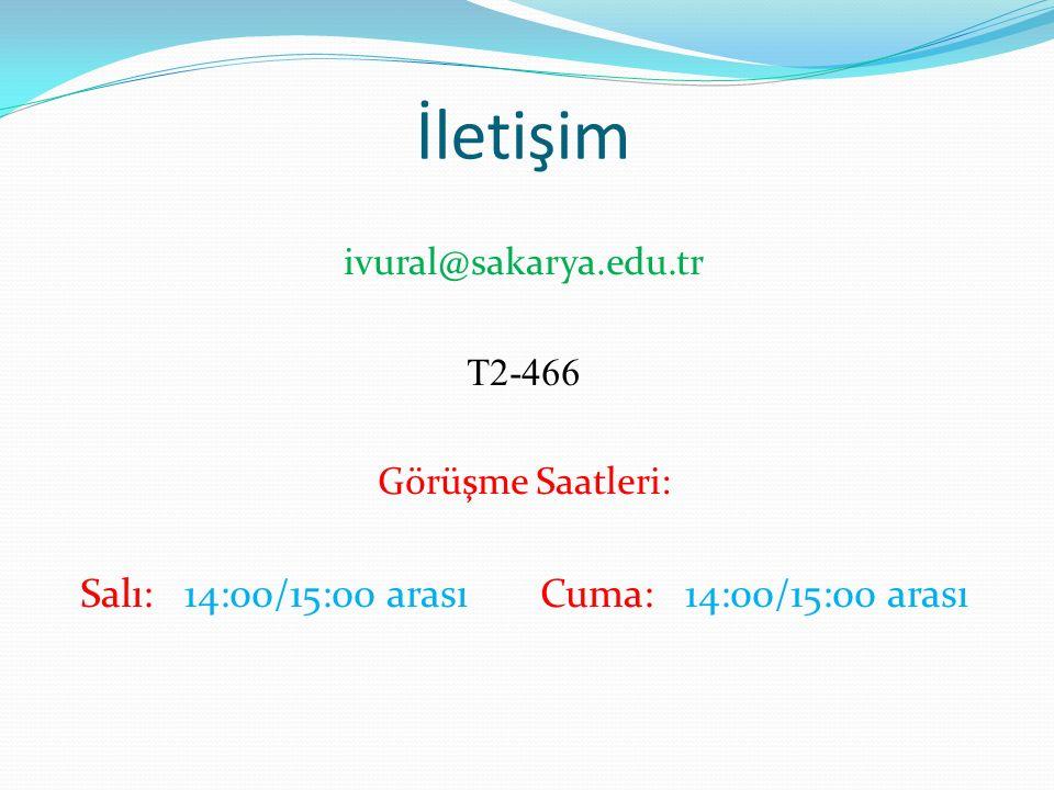 İletişim ivural@sakarya.edu.tr T2-466 Görüşme Saatleri: Salı: 14:00/15:00 arası Cuma: 14:00/15:00 arası