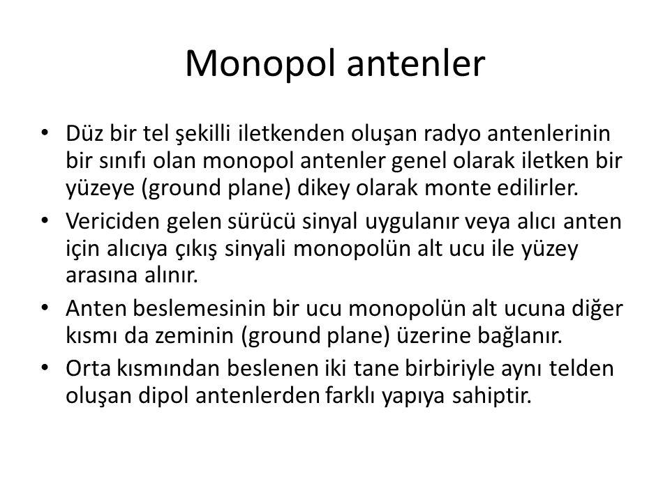 Monopol antenler Düz bir tel şekilli iletkenden oluşan radyo antenlerinin bir sınıfı olan monopol antenler genel olarak iletken bir yüzeye (ground plane) dikey olarak monte edilirler.