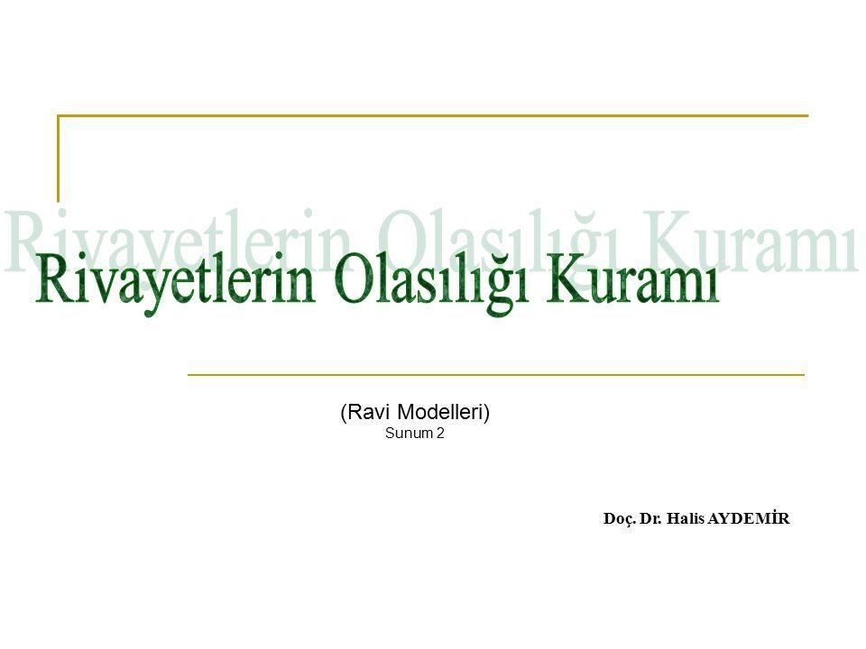 (Ravi Modelleri) Sunum 2 Doç. Dr. Halis AYDEMİR