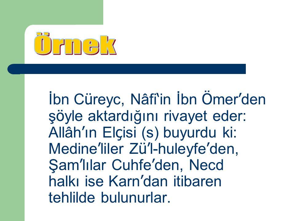 İbn C ü reyc, Nâfi ' in İbn Ö mer ' den ş ö yle aktardığını rivayet eder: Allâh ' ın El ç isi (s) buyurdu ki: Medine ' liler Z ü' l-huleyfe ' den, Şam ' lılar Cuhfe ' den, Necd halkı ise Karn ' dan itibaren tehlilde bulunurlar.