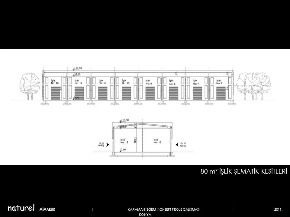 80 m² İŞLİK ŞEMATİK KESİTLERİ naturel MİMARLIK | KARAMAN İŞGEM KONSEPT PROJE ÇALIŞMASI | 2011, KONYA
