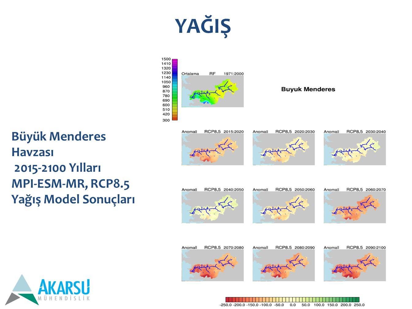 YAĞIŞ Büyük Menderes Havzası 2015-2100 Yılları MPI-ESM-MR, RCP8.5 Yağış Model Sonuçları
