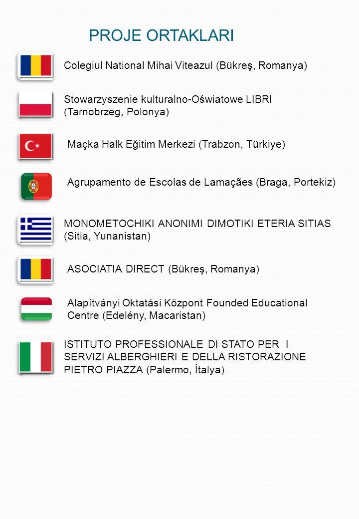 PROJE ORTAKLARI Colegiul National Mihai Viteazul (Bükreş, Romanya) Stowarzyszenie kulturalno-Oświatowe LIBRI (Tarnobrzeg, Polonya) Maçka Halk Eğitim Merkezi (Trabzon, Türkiye) Agrupamento de Escolas de Lamaçães (Braga, Portekiz) MONOMETOCHIKI ANONIMI DIMOTIKI ETERIA SITIAS (Sitia, Yunanistan) ASOCIATIA DIRECT (Bükreş, Romanya) Alapítványi Oktatási Központ Founded Educational Centre (Edelény, Macaristan) ISTITUTO PROFESSIONALE DI STATO PER I SERVIZI ALBERGHIERI E DELLA RISTORAZIONE PIETRO PIAZZA (Palermo, İtalya)