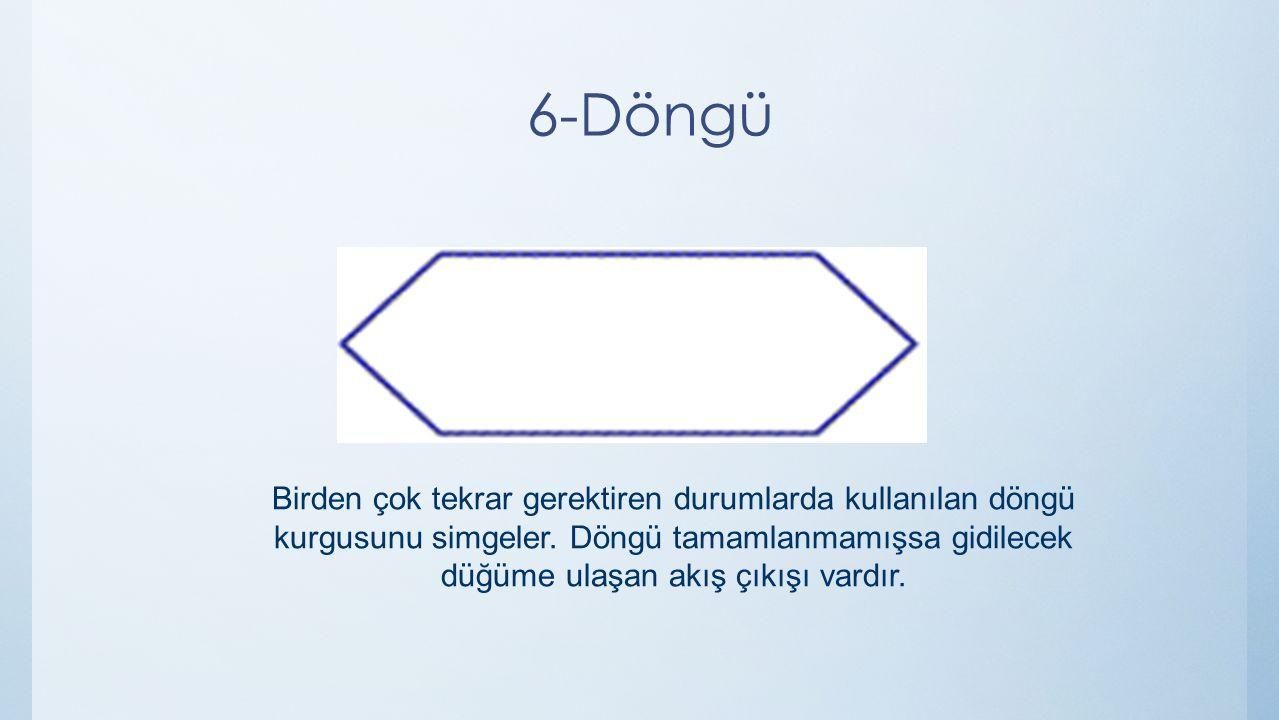 6-Döngü Birden çok tekrar gerektiren durumlarda kullanılan döngü kurgusunu simgeler. Döngü tamamlanmamışsa gidilecek düğüme ulaşan akış çıkışı vardır.