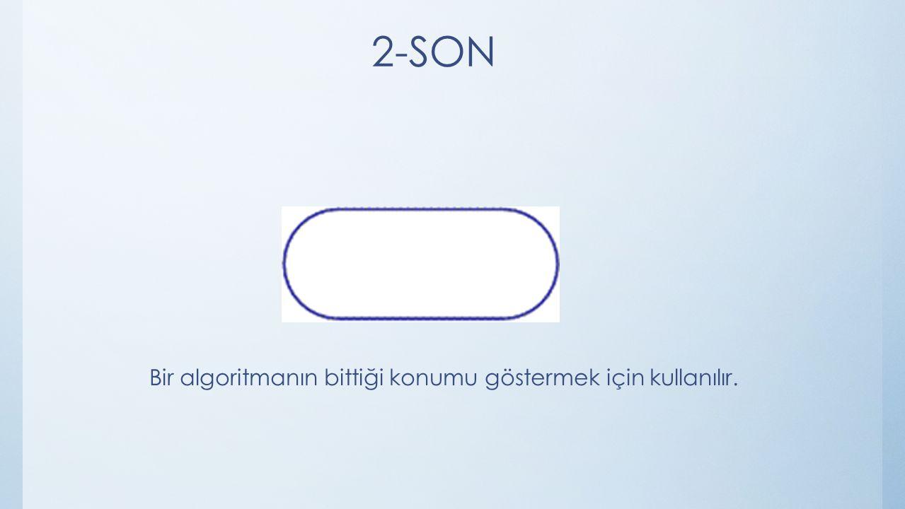 2-SON Bir algoritmanın bittiği konumu göstermek için kullanılır.