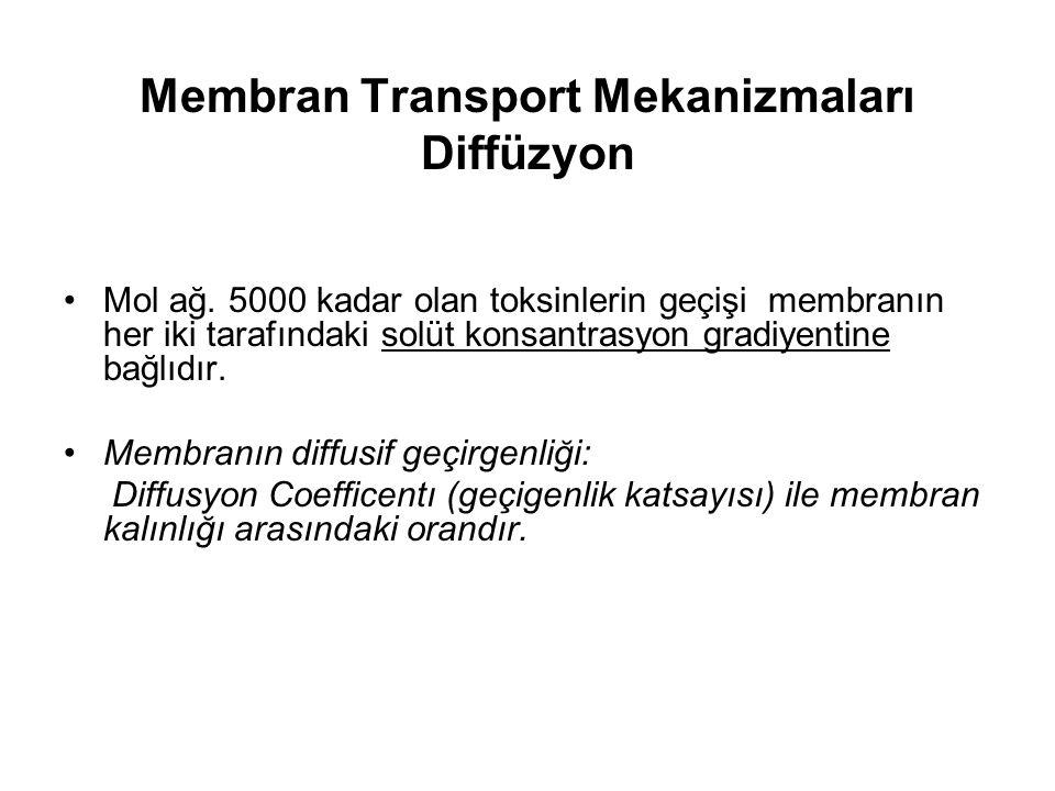 Membran Transport Mekanizmaları Diffüzyon Mol ağ.