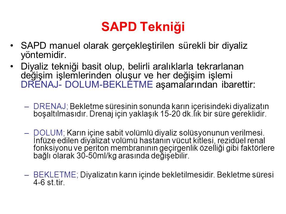 SAPD Tekniği SAPD manuel olarak gerçekleştirilen sürekli bir diyaliz yöntemidir.