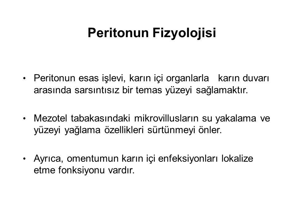 Peritonun Fizyolojisi Peritonun esas işlevi, karın içi organlarla karın duvarı arasında sarsıntısız bir temas yüzeyi sağlamaktır.