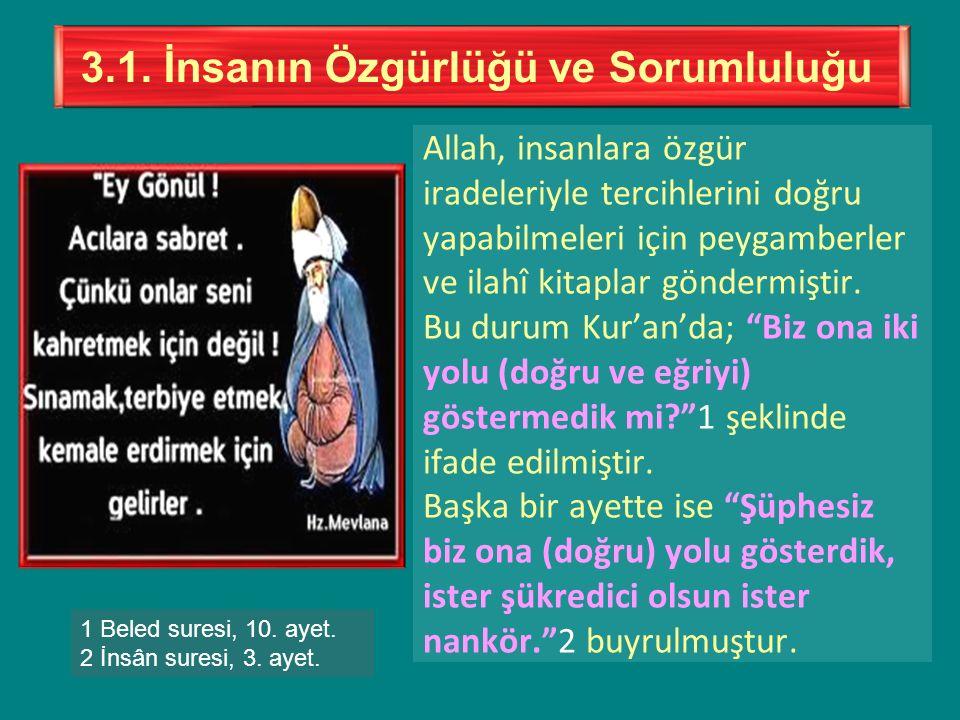"""Allah, insanlara özgür iradeleriyle tercihlerini doğru yapabilmeleri için peygamberler ve ilahî kitaplar göndermiştir. Bu durum Kur'an'da; """"Biz ona ik"""