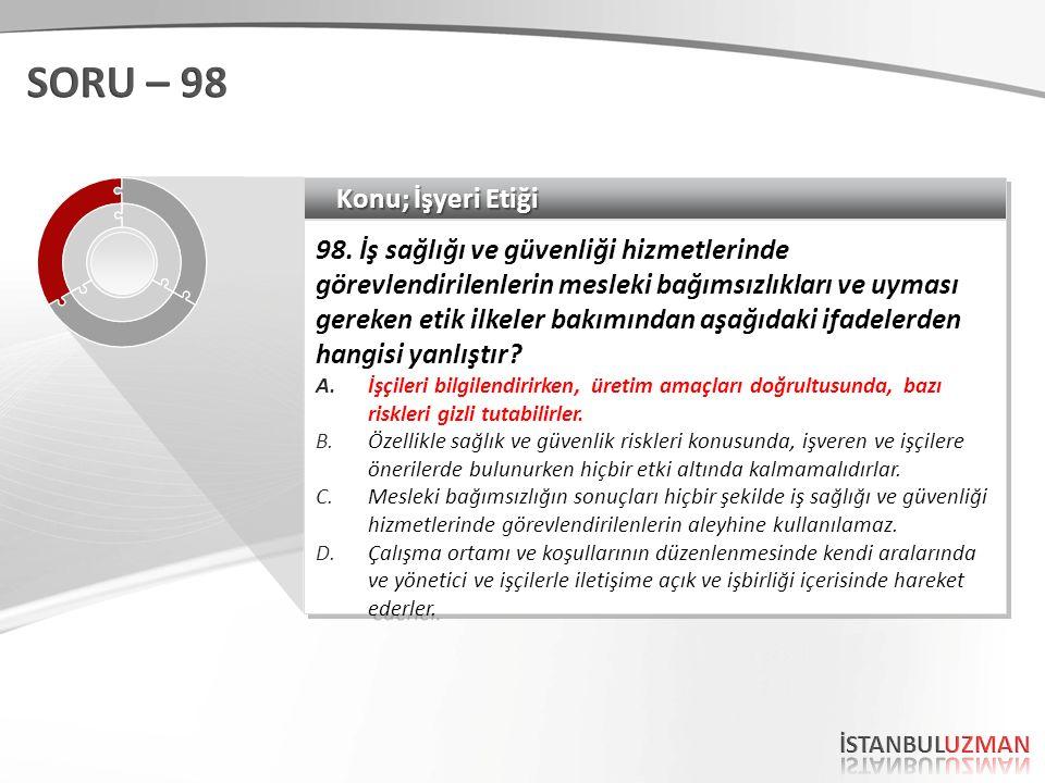 Konu; İşyeri Etiği 98.
