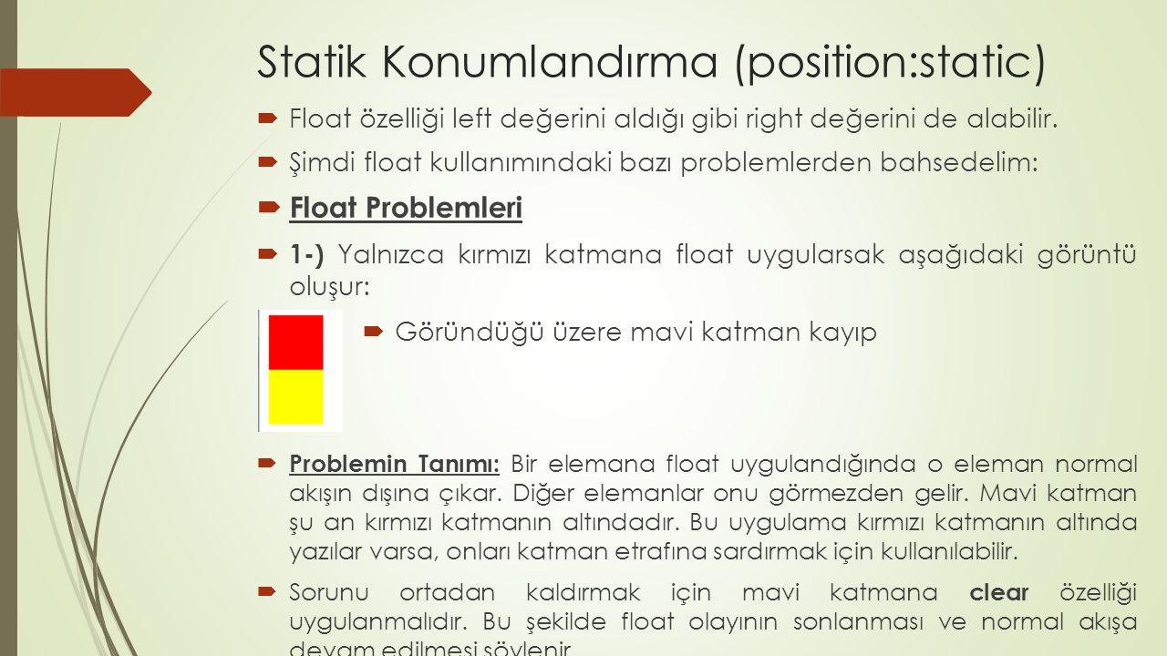 Statik Konumlandırma (position:static)  Float özelliği left değerini aldığı gibi right değerini de alabilir.  Şimdi float kullanımındaki bazı proble