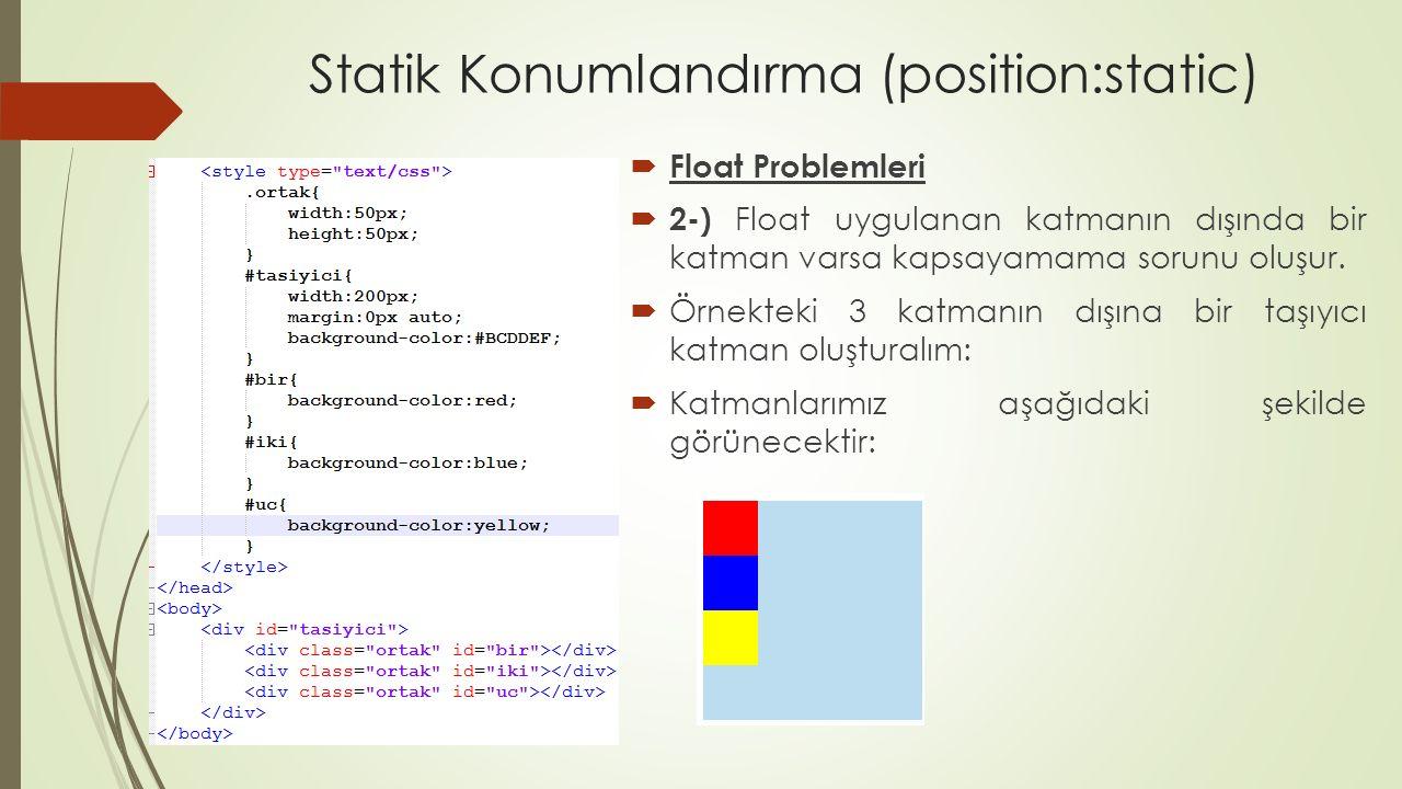 Statik Konumlandırma (position:static)  Float Problemleri  Şimdi sarı katmana float uygulayalım ve sonucu görelim: