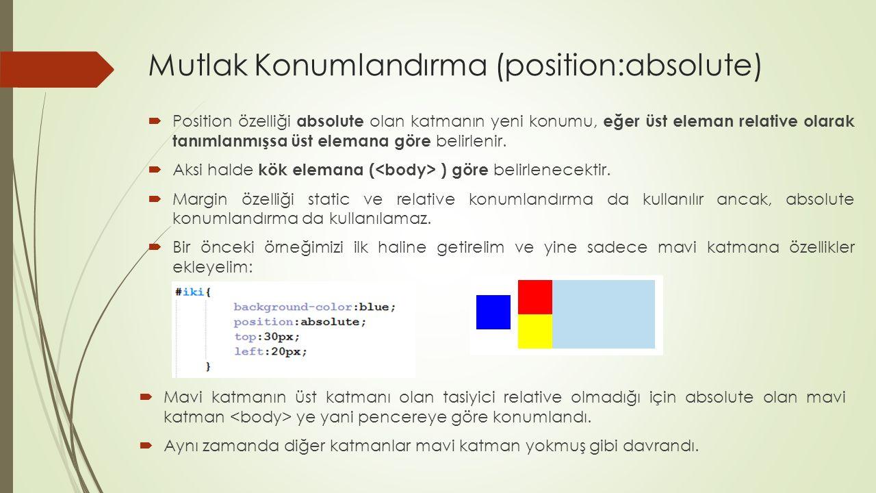 Mutlak Konumlandırma (position:absolute)  Position özelliği absolute olan katmanın yeni konumu, eğer üst eleman relative olarak tanımlanmışsa üst ele