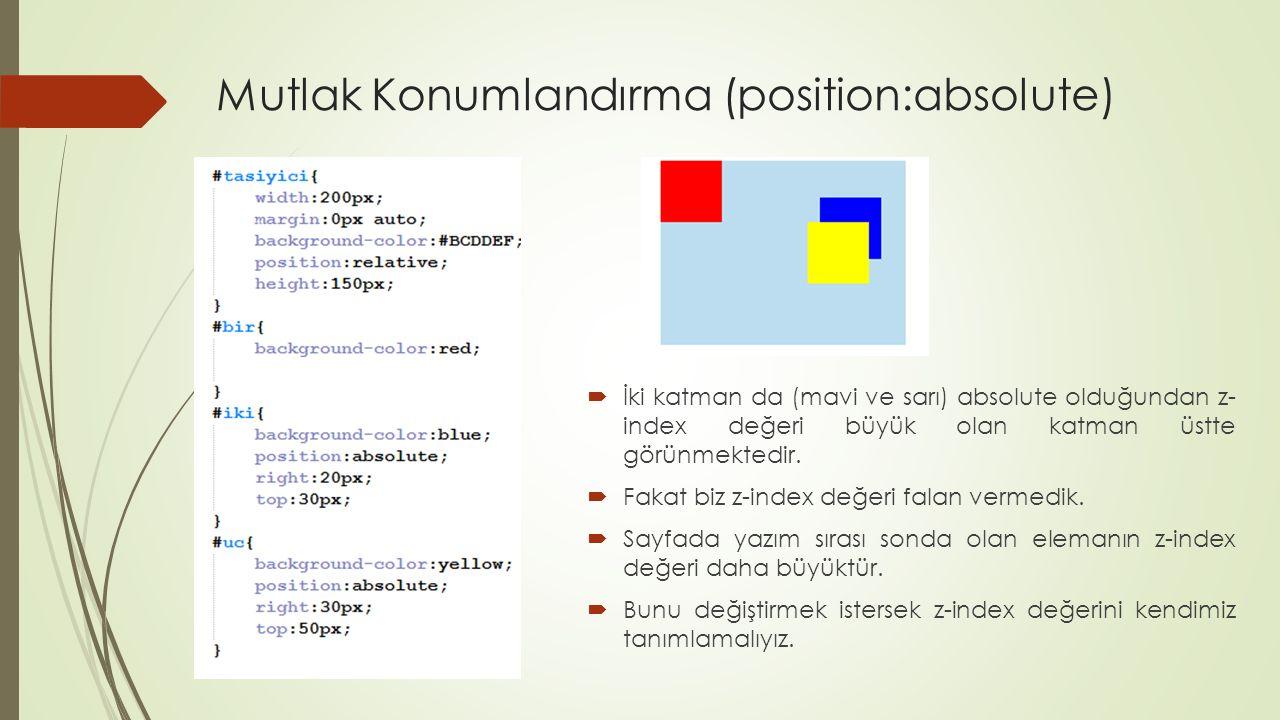 Mutlak Konumlandırma (position:absolute)  İki katman da (mavi ve sarı) absolute olduğundan z- index değeri büyük olan katman üstte görünmektedir.  F