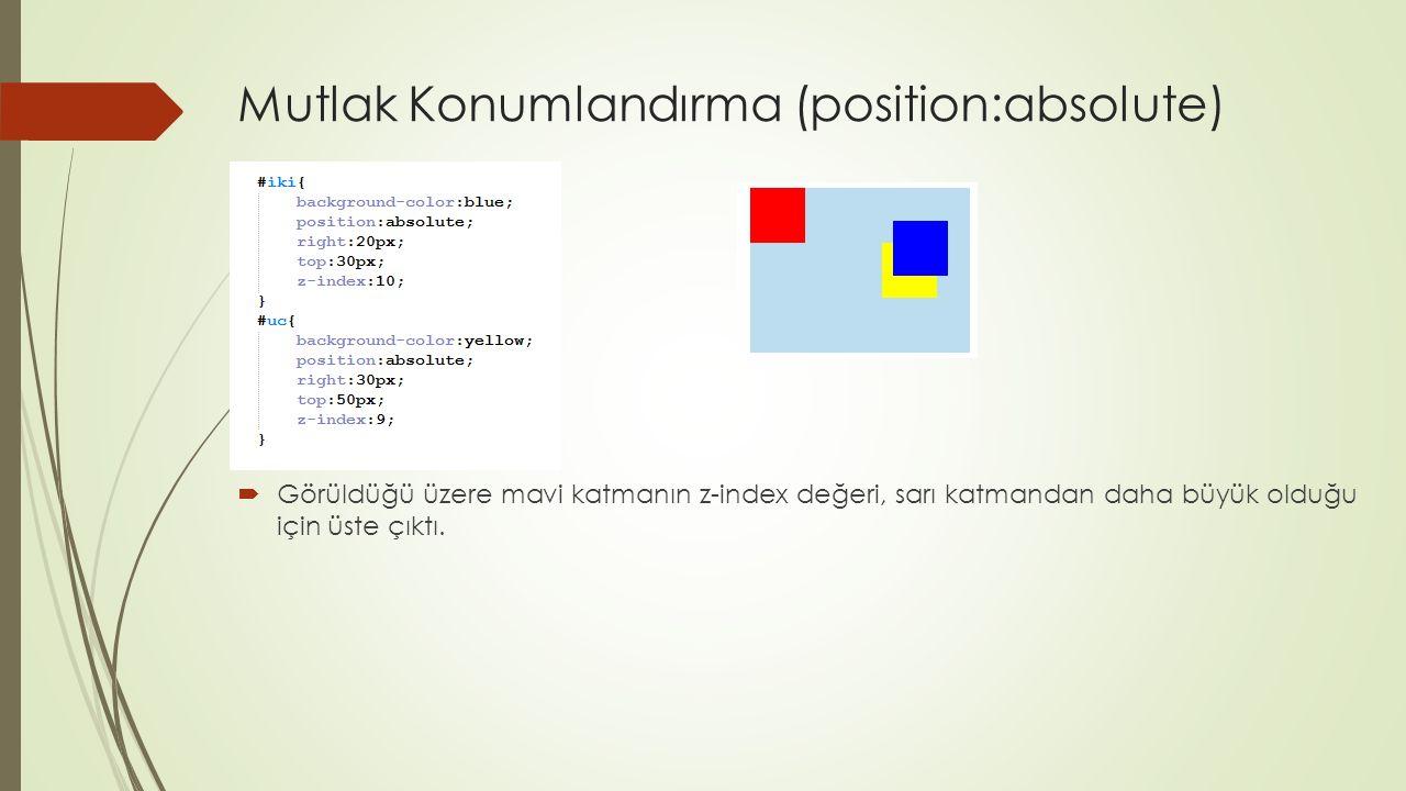 Mutlak Konumlandırma (position:absolute)  Görüldüğü üzere mavi katmanın z-index değeri, sarı katmandan daha büyük olduğu için üste çıktı.