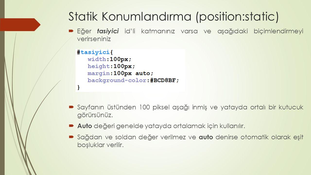 Statik Konumlandırma (position:static)  Eğer tasiyici id'li katmanınız varsa ve aşağıdaki biçimlendirmeyi verirseniniz  Sayfanın üstünden 100 piksel