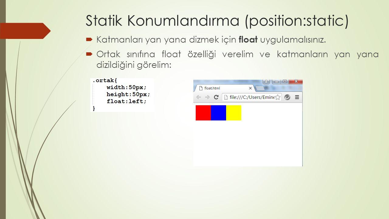 Statik Konumlandırma (position:static)  Katmanları yan yana dizmek için float uygulamalısınız.  Ortak sınıfına float özelliği verelim ve katmanların