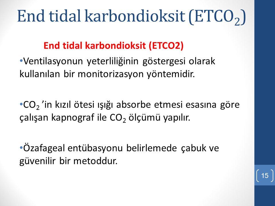 End tidal karbondioksit (ETCO 2 ) Ventilasyonun yeterliliğinin göstergesi olarak kullanılan bir monitorizasyon yöntemidir. CO 2 'in kızıl ötesi ışığı