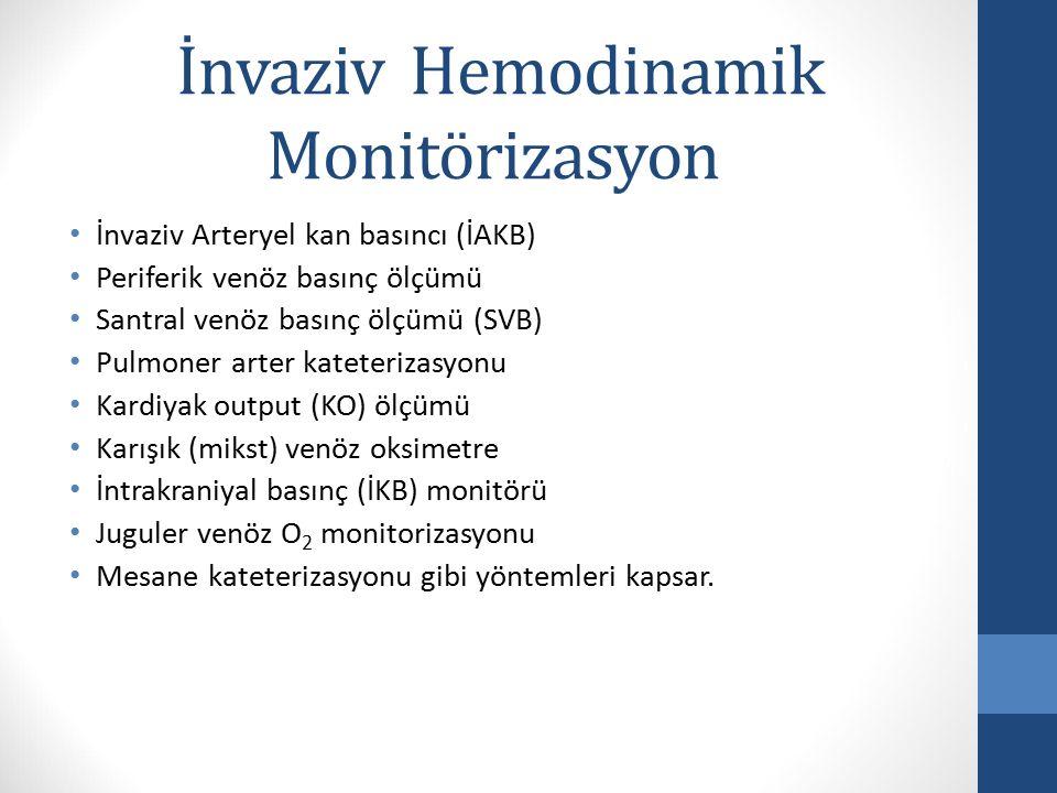İnvaziv Hemodinamik Monitörizasyon İnvaziv Arteryel kan basıncı (İAKB) Periferik venöz basınç ölçümü Santral venöz basınç ölçümü (SVB) Pulmoner arter