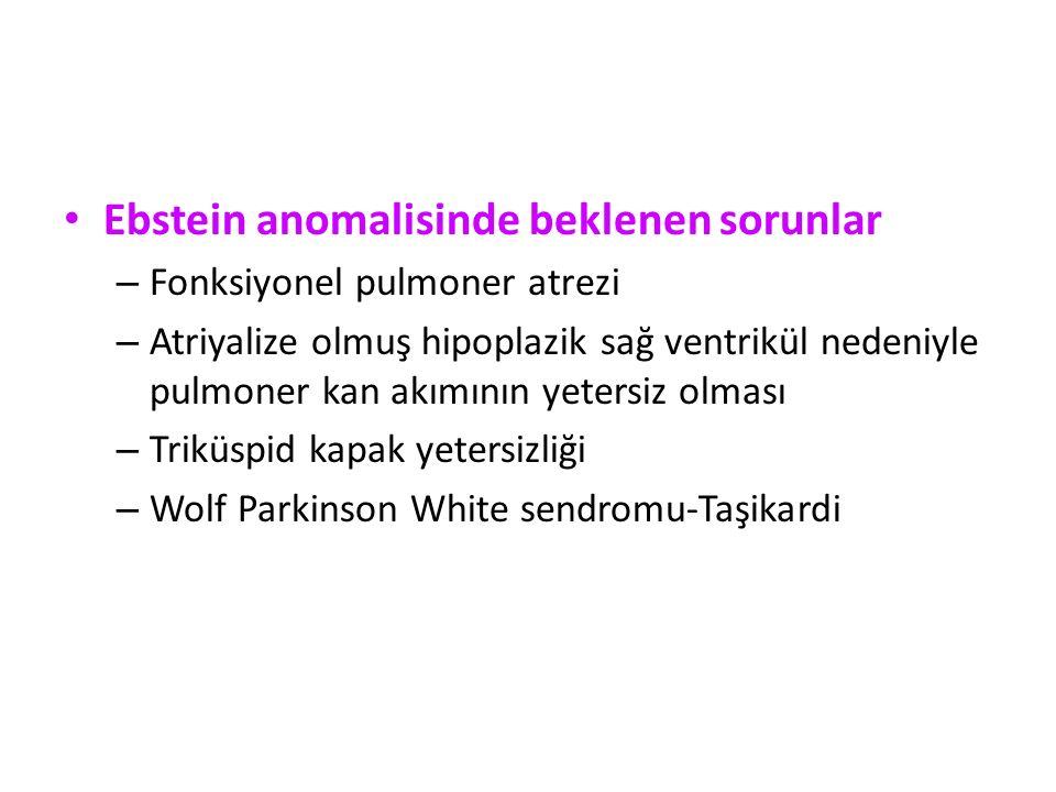 Ebstein anomalisinde beklenen sorunlar – Fonksiyonel pulmoner atrezi – Atriyalize olmuş hipoplazik sağ ventrikül nedeniyle pulmoner kan akımının yetersiz olması – Triküspid kapak yetersizliği – Wolf Parkinson White sendromu-Taşikardi