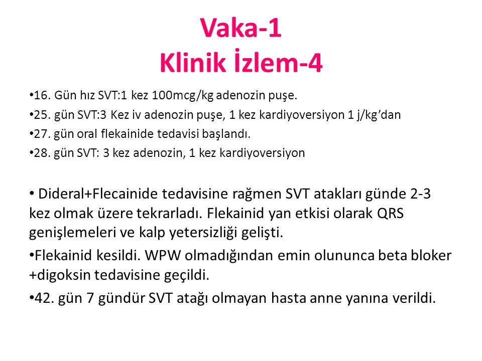 Vaka-1 Klinik İzlem-4 16. Gün hız SVT:1 kez 100mcg/kg adenozin puşe. 25. gün SVT:3 Kez iv adenozin puşe, 1 kez kardiyoversiyon 1 j/kg'dan 27. gün oral