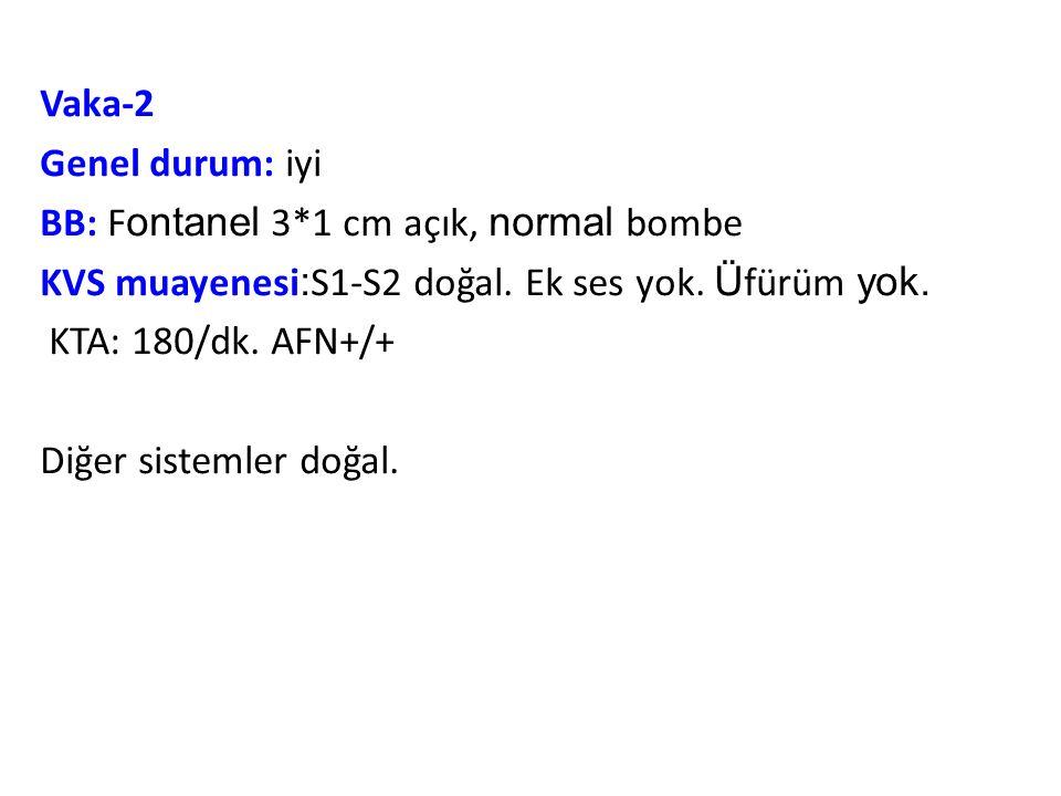 Vaka-2 Genel durum: iyi BB: F ontanel 3*1 cm açık, normal bombe KVS muayenesi : S1-S2 doğal.