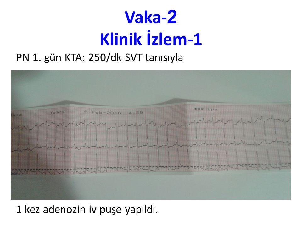 Vaka- 2 Klinik İzlem-1 PN 1. gün KTA: 250/dk SVT tanısıyla 1 kez adenozin iv puşe yapıldı.