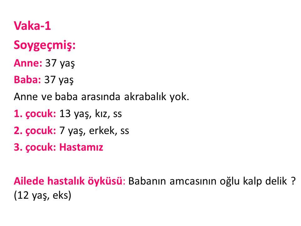Vaka-1 Soygeçmiş: Anne: 37 yaş Baba: 37 yaş Anne ve baba arasında akrabalık yok.