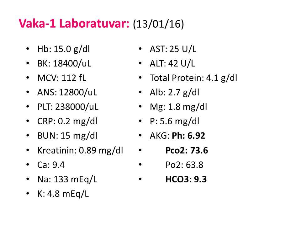 Vaka-1 Laboratuvar: (13/01/16) Hb: 15.0 g/dl BK: 18400/uL MCV: 112 fL ANS: 12800/uL PLT: 238000/uL CRP: 0.2 mg/dl BUN: 15 mg/dl Kreatinin: 0.89 mg/dl Ca: 9.4 Na: 133 mEq/L K: 4.8 mEq/L AST: 25 U/L ALT: 42 U/L Total Protein: 4.1 g/dl Alb: 2.7 g/dl Mg: 1.8 mg/dl P: 5.6 mg/dl AKG: Ph: 6.92 Pco2: 73.6 Po2: 63.8 HCO3: 9.3