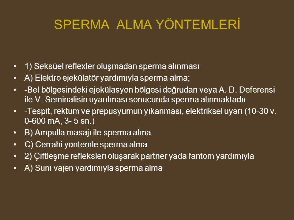 SPERMA ALMA YÖNTEMLERİ 1) Seksüel reflexler oluşmadan sperma alınması A) Elektro ejekülatör yardımıyla sperma alma; -Bel bölgesindeki ejekülasyon bölg