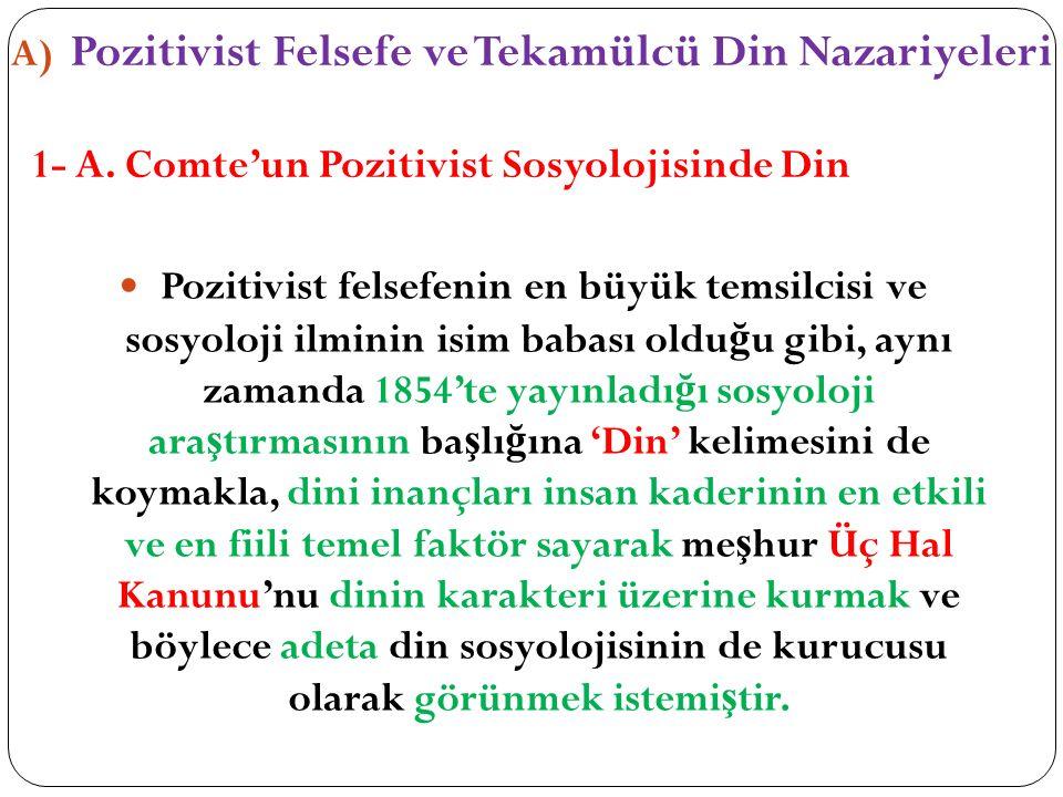 A) Pozitivist Felsefe ve Tekamülcü Din Nazariyeleri 1- A. Comte'un Pozitivist Sosyolojisinde Din Pozitivist felsefenin en büyük temsilcisi ve sosyoloj