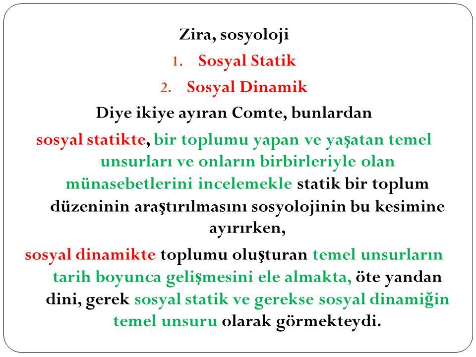 Zira, sosyoloji 1.Sosyal Statik 2.