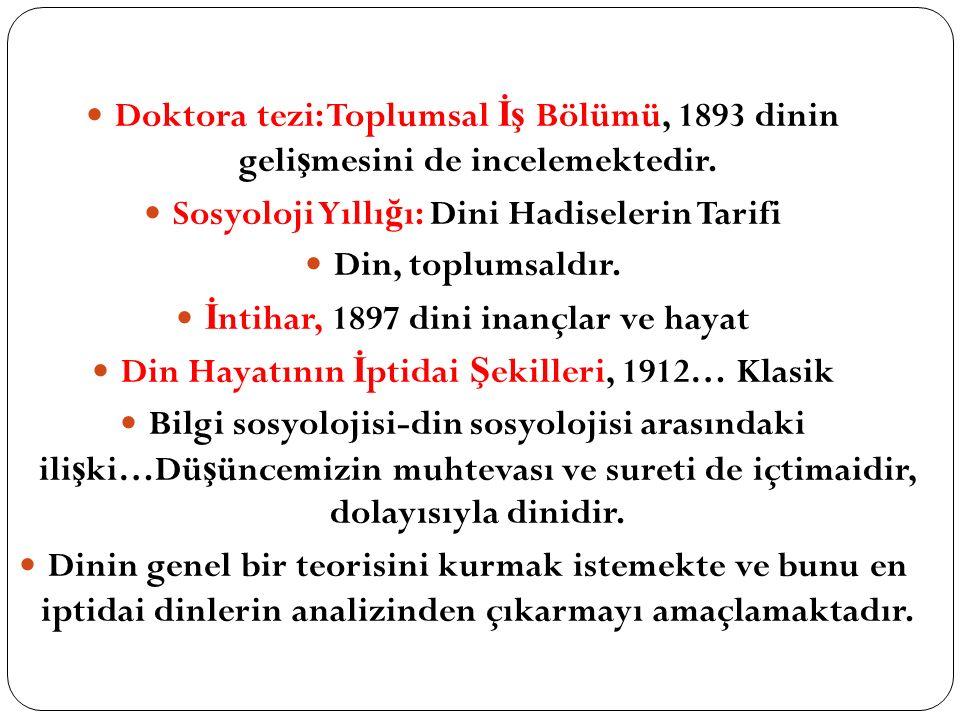 Doktora tezi: Toplumsal İş Bölümü, 1893 dinin geli ş mesini de incelemektedir. Sosyoloji Yıllı ğ ı: Dini Hadiselerin Tarifi Din, toplumsaldır. İ ntiha