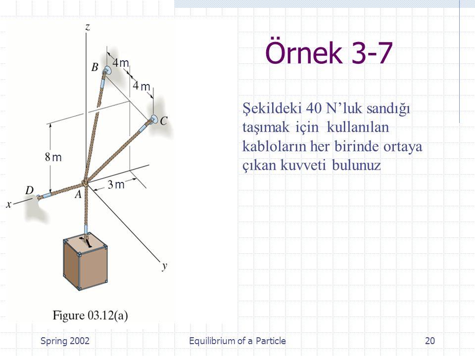 Spring 2002Equilibrium of a Particle20 Şekildeki 40 N'luk sandığı taşımak için kullanılan kabloların her birinde ortaya çıkan kuvveti bulunuz Örnek 3-