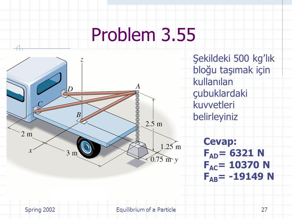 Spring 2002Equilibrium of a Particle27 Şekildeki 500 kg'lık bloğu taşımak için kullanılan çubuklardaki kuvvetleri belirleyiniz Problem 3.55 Cevap: F A