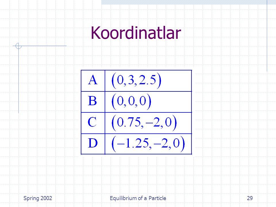 Spring 2002Equilibrium of a Particle29 Koordinatlar