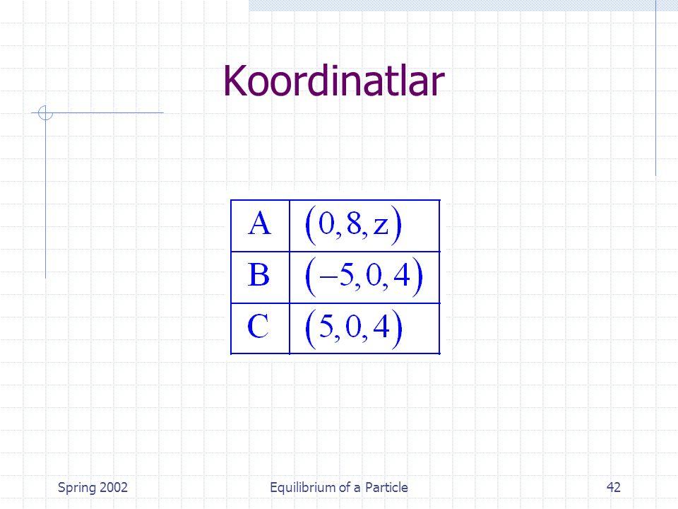 Spring 2002Equilibrium of a Particle42 Koordinatlar