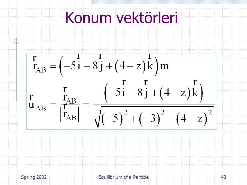 Spring 2002Equilibrium of a Particle43 Konum vektörleri