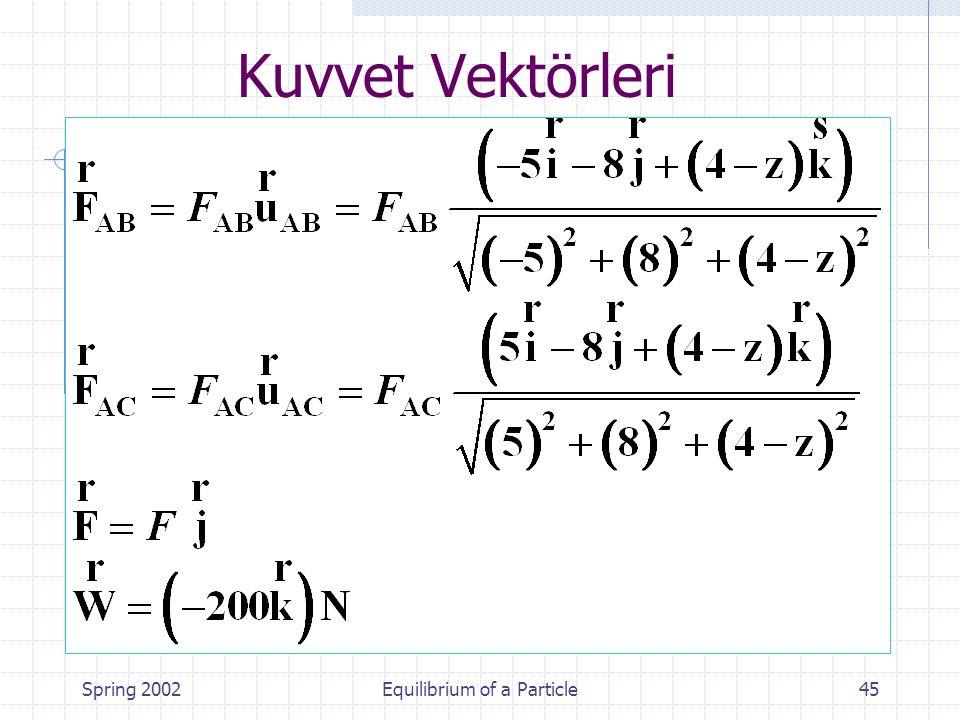 Spring 2002Equilibrium of a Particle45 Kuvvet Vektörleri